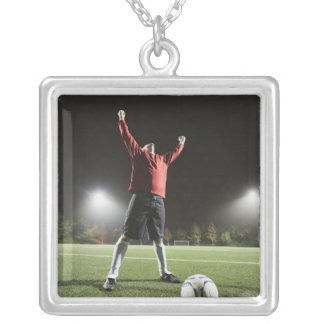 USA, California, Ladera Ranch, Football player 2 Silver Plated Necklace