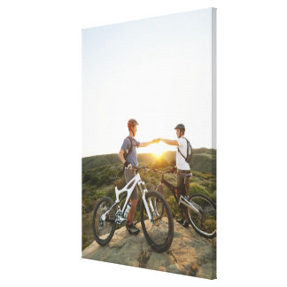 USA, California, Laguna Beach, Two bikers on Canvas Print