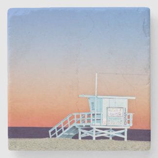 USA, California, Los Angeles, Santa Monica Beach Stone Beverage Coaster