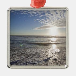 USA, California, Los Angeles, seascape Silver-Colored Square Decoration