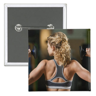 USA, California, Los Angeles, woman exercising 15 Cm Square Badge