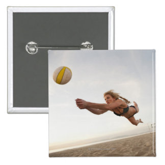 USA, California, Los Angeles, woman playing 15 Cm Square Badge