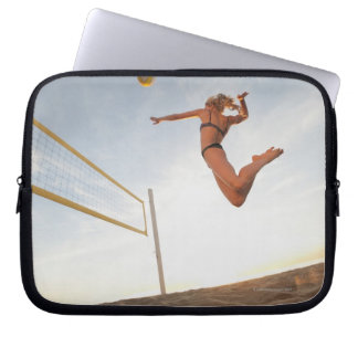 USA, California, Los Angeles, woman playing 2 Laptop Sleeve