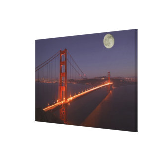 USA, California, Marin. Moonrise above the Stretched Canvas Print