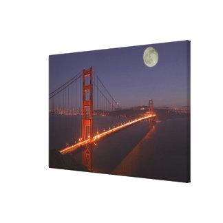 USA, California, Marin. Moonrise above the Gallery Wrap Canvas