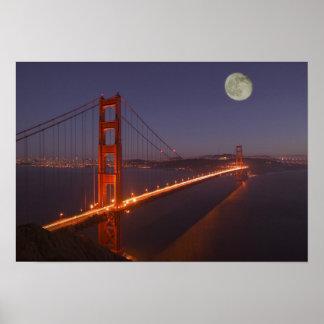 USA, California, Marin. Moonrise above the Poster