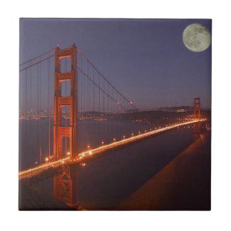 USA, California, Marin. Moonrise above the Tile