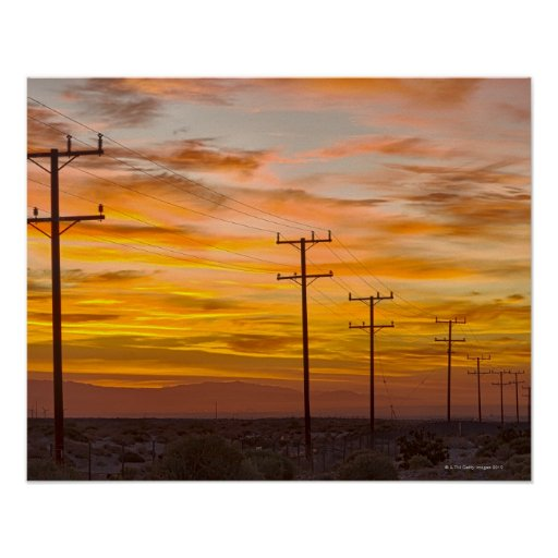 USA, California, Palm Springs, power line at 2 Posters