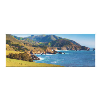 USA, California. Panorama Of Big Sur With Bixby Stretched Canvas Prints