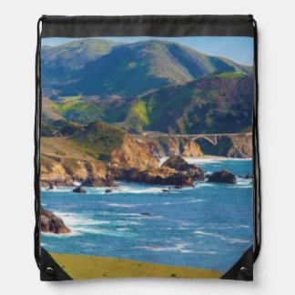 USA, California. Panorama Of Big Sur With Bixby Drawstring Bag