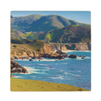 USA, California. Panorama Of Big Sur With Bixby Maple Wood Coaster