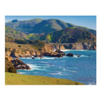 USA, California. Panorama Of Big Sur With Bixby Postcard