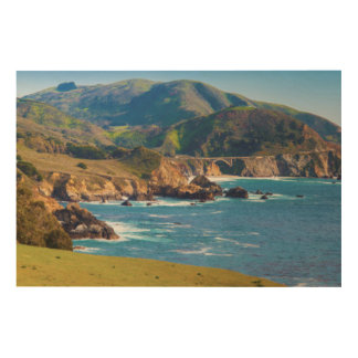 USA, California. Panorama Of Big Sur With Bixby Wood Wall Art