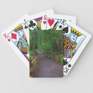 USA, California. Path Among Redwoods Bicycle Poker Cards