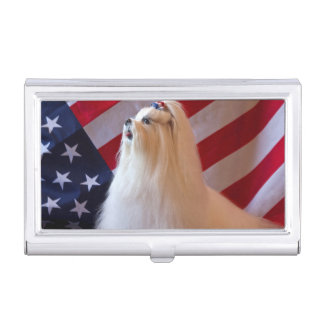 USA, California. Patriotic Maltese Business Card Holder