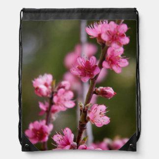 USA, California. Pink Blooms On A Tree Drawstring Bag