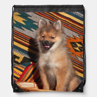 USA, California. Pomeranian Sitting Drawstring Bag