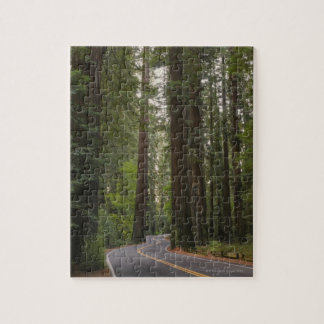 USA, California, road through Redwood forest 2 Jigsaw Puzzle