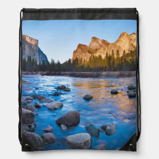 USA, California. Rocky Reflections In Merced Drawstring Bag