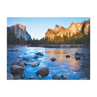 USA, California. Rocky Reflections In Merced Gallery Wrapped Canvas