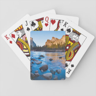 USA, California. Rocky Reflections In Merced Playing Cards