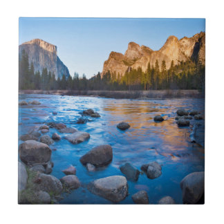USA, California. Rocky Reflections In Merced Tile