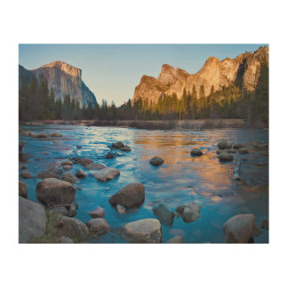 USA, California. Rocky Reflections In Merced Wood Print