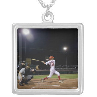USA, California, San Bernardino, baseball 2 Silver Plated Necklace