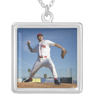 USA, California, San Bernardino, baseball 4 Silver Plated Necklace