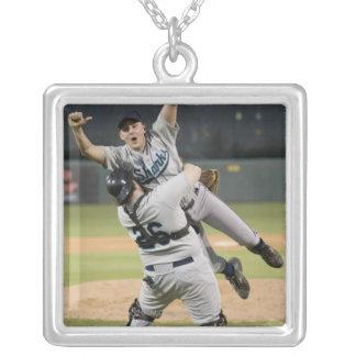 USA, California, San Bernardino, baseball 8 Silver Plated Necklace