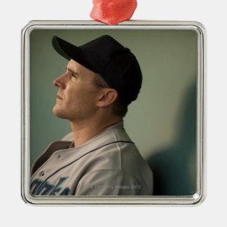 USA, California, San Bernardino, baseball player Silver-Colored Square Decoration