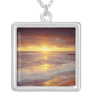 USA, California, San Diego. Sunset Cliffs beach Silver Plated Necklace