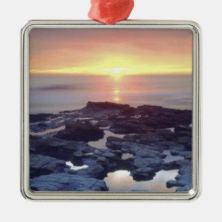 USA, California, San Diego. Sunset Cliffs tide Silver-Colored Square Decoration