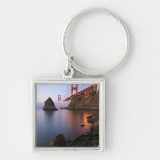 USA, California, San Francisco. Golden Gate Silver-Colored Square Key Ring