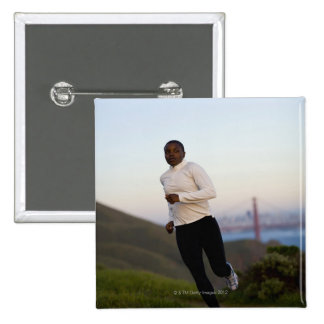 USA, California, San Francisco, Woman jogging, 15 Cm Square Badge