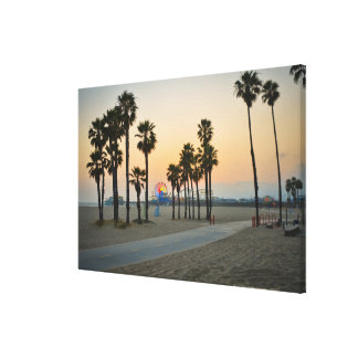 USA, California, Santa Monica Pier at sunset Canvas Print
