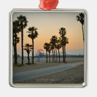 USA, California, Santa Monica Pier at sunset Christmas Ornament