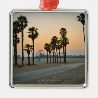 USA, California, Santa Monica Pier at sunset Silver-Colored Square Decoration