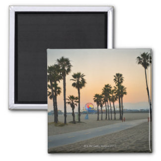 USA, California, Santa Monica Pier at sunset Square Magnet