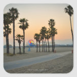 USA, California, Santa Monica Pier at sunset Square Sticker