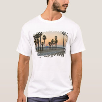 USA, California, Santa Monica Pier at sunset T-Shirt