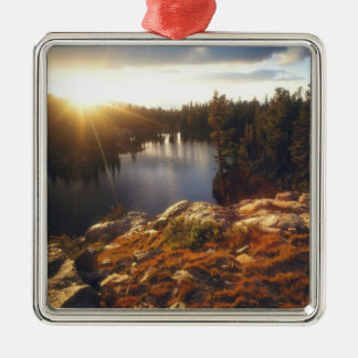 USA, California, Sierra Nevada Mountains. Sunset Silver-Colored Square Decoration