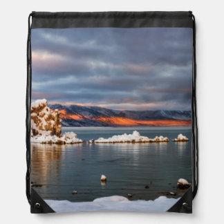 USA, California, Sunrise at Mono Lake Drawstring Bag