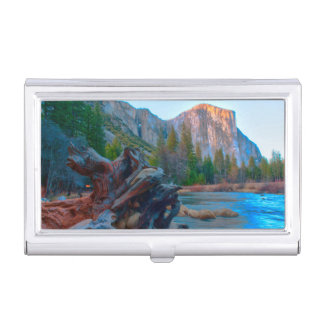 USA, California. Tree Roots In Merced River Business Card Holder