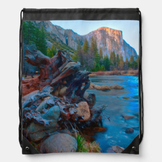 USA, California. Tree Roots In Merced River Drawstring Bag