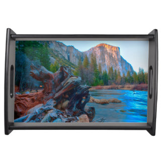 USA, California. Tree Roots In Merced River Serving Tray