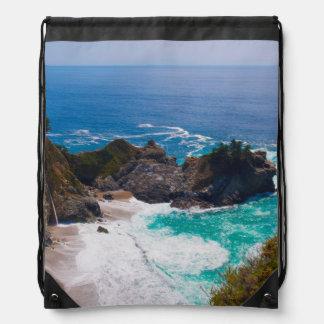 USA, California. View Of Mcway Falls Drawstring Bag