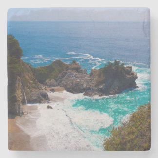 USA, California. View Of Mcway Falls Stone Beverage Coaster