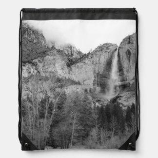USA, California. Yosemite Falls In Early Spring Drawstring Bag