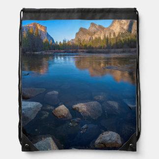 USA, California. Yosemite Valley View 2 Drawstring Bag